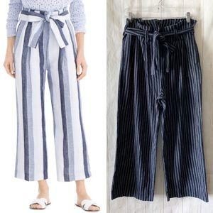 J Crew Point Sur Paperbag Pinstripe Linen Pants 6